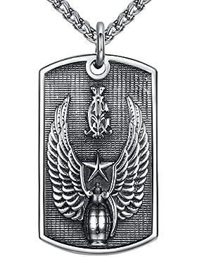 Aoiy Herren-Halskette mit Anhänger, groß und schwer, Armee Flügel Granate, Edelstahl 61cm Kette, hhp012