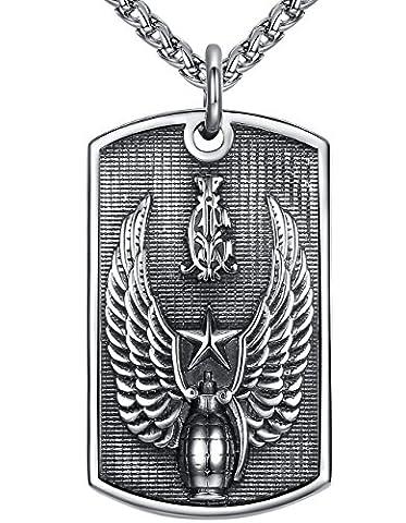 Aoiy - Collier avec pendentif hommes - Acier Inoxydable - grenade aile armée, grand et lourd - chaîne 61cm - hhp012