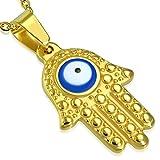 Bungsa Blaues Auge Hand der Fatima Anhänger Gold Edelstahl (Hamsa Blue Evil Eyes Henna Indien Yoga Religion Pendant Amulett Medaillon Kettenanhänger Charm Beads Chirurgenstahl Damen Schmuck)