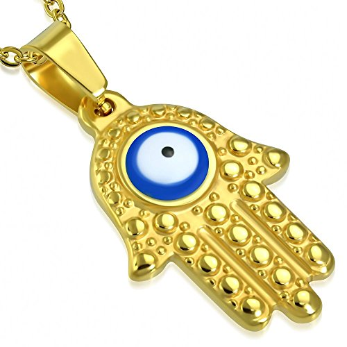 Bungsa Blaues Auge Hand der Fatima Anhänger Gold Edelstahl (Hamsa Blue Evil Eyes Henna Indien Yoga Religion Pendant Amulett Medaillon Kettenanhänger Charm Beads Chirurgenstahl Damen Schmuck) - Henna Augen