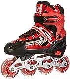 Rollers pour enfants/adolescents, à taille réglable - roulis avant Luminous - Rouge M (35-38)