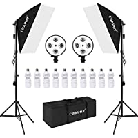 CRAPHY Photo Studio 450W Continuous Softbox Lighting Kit, Professional Studio Photography Lights with 4-Socket Soft Boxes, 8 + 2 Extra Free Light Bulbs 45W, Light Stands and Carrying Bag