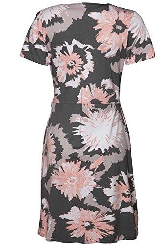Nanso robe pour femme effet lumineux wickeloptik col très échancré en v longueur 98 cm - Grey-Apricot-Weiss