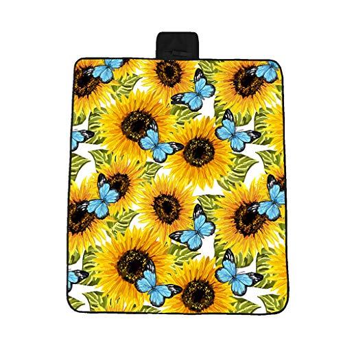 3D Digitaldruck Vollpolyester Oxford Tuchpicknickmatte / Strandmatte / Feuchtigkeitsmatte Schmetterlingssonnenblumenstand nähendes dreidimensionales gemaltes Muster der verschiedenen Größen (148*82cm)