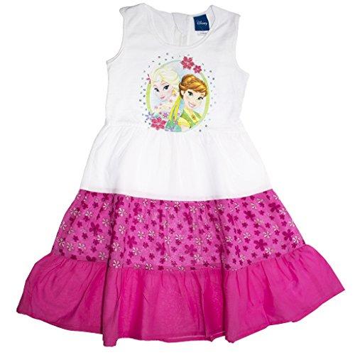 Mädchen-Kleid Eiskönigin Sommer-Kleid Weiss mit pink und Blümchen, Freizeit-Kleid ÄRMELLOS mit EIS-Prinzessinnen, Anna und ELSA Frozen-Kleid in Größe 104, 110, 116, 122, 128, 134 Größe 44