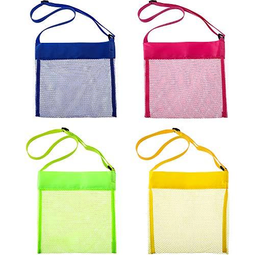 8 Stücke Bunte Mesh Strand Taschen, Muschel Mesh Taschen, Atmungsaktive Meer Schale Taschen mit Verstellbaren Tragegurte