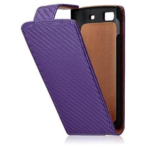 Housse coque étui gaufré pour Samsung Wave 3 couleur violet