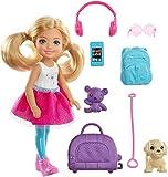 Barbie Voyage mini-poupée  Chelsea blonde, avec un chien, sac de voyage et accessoires, jouet pour enfant, FWV20