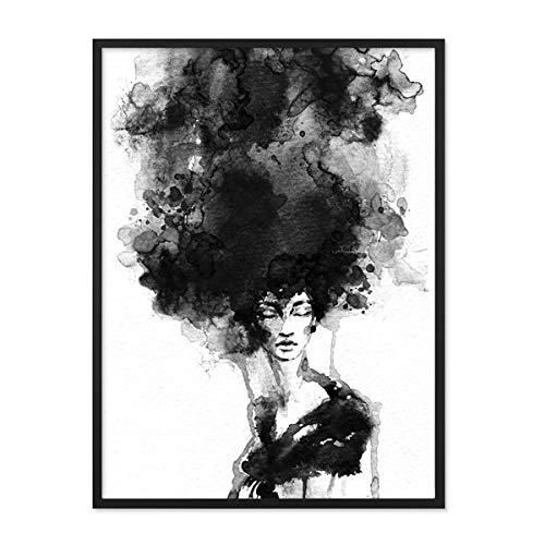 PHOTOLINI Design-Poster mit Bilderrahmen Schwarz 'Woman' 30x40 cm schwarz-Weiss Motiv Frau Aquarell