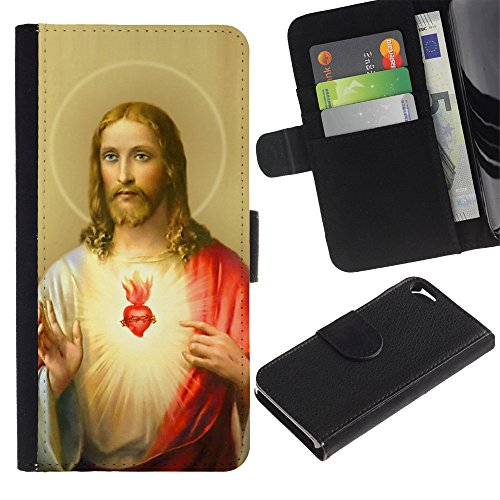 Graphic4You Jesus Christian Design Brieftasche Leder Hülle Case Schutzhülle für Apple iPhone SE / 5 / 5S Design #3