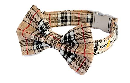 Noddy & Sweets Hundehalsband mit Fliege, handgefertigt, Tan Tartan -