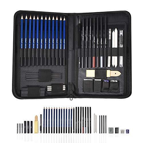 FLOWood 41 Stück Bleistift Zeichnen Set, Skizzierstifte Set und Zeichnen Professionelle Art Set mit Hochwertiger Malkoffer, Zeichnen für Anfänger, Künstler, Kinder (Art Set Bag)