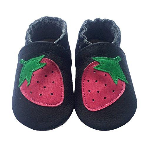 Freefisher Lauflernschuhe, Krabbelschuhe, Babyschuhe - in vielen Designs, Rot Erdbeere auf Schwarz, 6-12 Monate