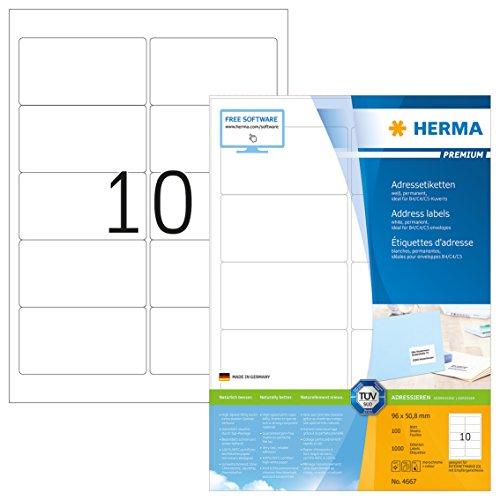 Herma 4667 Adressetiketten (96 x 50,8 mm) weiß, 1.000 Adressaufkleber, 100 Blatt Premium DIN A4 Papier matt, bedruckbar, selbstklebend X 96