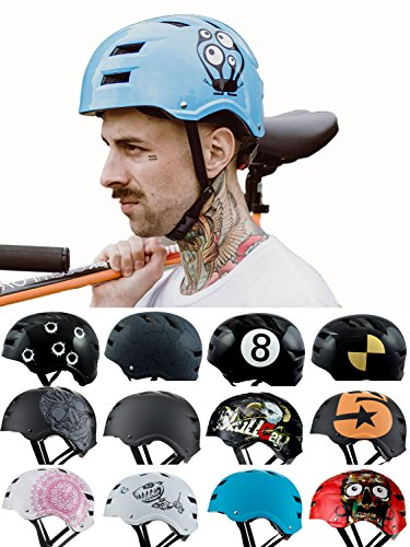 Skullcap BMX Helm  Skaterhelm  Fahrradhelm , Fahrradhelm für Frauen, hellblau, Größe M, MonsterBlu