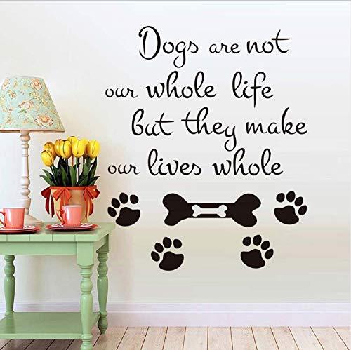 Wandsticker Hunde Sind Nicht Unser Ganzes Leben 3D Wandtattoos Hund Pfotenabdruck Vinyl Entfernbare Wandaufkleber Aufkleber Diy Home Decor 5 8X70Cm