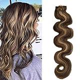 Agrafe de cheveux humains blonde bouclée dans les extensions de cheveux 70grams 7pcs agrafe ondulée résistante à la chaleur douce dans les extensions brun foncé (H # 2/613, 18 pouces)