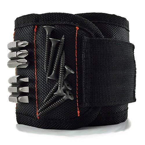 Magnetisches Armband, Qhui Magnetische Armbänder mit 10 kraftvollen Magneten, Magnetarmband Werkzeug zum Halten von Werkzeug, Schrauben, Bohrer und Nägel, Werkzeug Geschenk für Männer(Black)