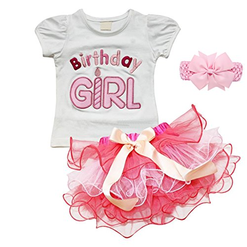 Birthday Girl Abschlussball Partys Kleid Verkleiden Fancy Dress Kopfbedeckungen für Kinder Baby Kleinkind Mädchen Bekleidung Set T-Shirt Tütü Pettiskirt Geburtstag Kleidung Gr. 120