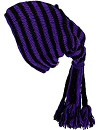 SLOUCH BEANIE HIPPIE TASSEL HAT Wool Knit Fleece Lined PURPLE & BLACK STRIPE