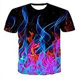 Homme T-Shirt Tee Manches Courtes 3D Motif imprimé Soft été porté Farbiger Rauch-M
