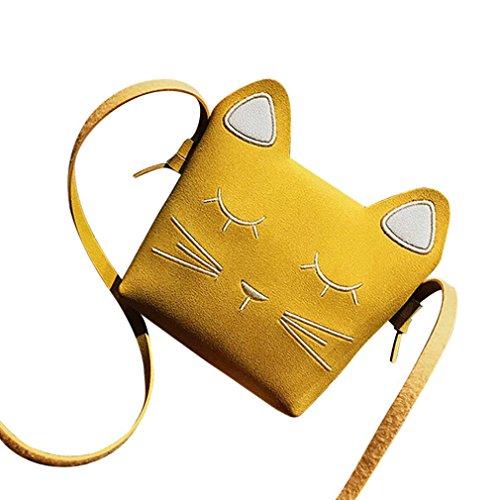 Entrega Rápida Venta En Línea Comprar Mejores Precios Baratos Longra PU in pelle di colore solida moda bambini gatto carino mini barra borsa monospalla borsa Giallo Venta Barata 2018 O6lHnZ
