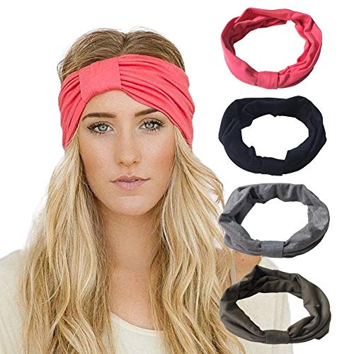 DRESHOW 4 Pack Stretchy Stirnbänder Yoga Mode Reise Solid Farben Hairband Feuchtigkeit Wicking Bandana Turban Schal Schal Turban