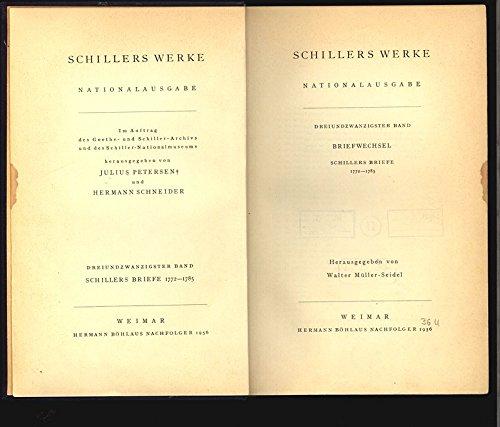 Schillers Werke Nationalausgabe Band 23 Briefwechsel Schillers