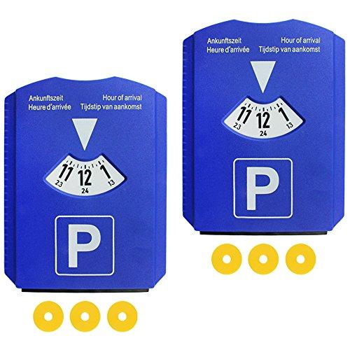 COM-FOUR® 2er Pack 4in1 Parkscheibe mit Eiskratzer, Gummilippe, Parkscheibe, Einkaufswagen Chip (02 Stück - Parkscheibe mit Chip)