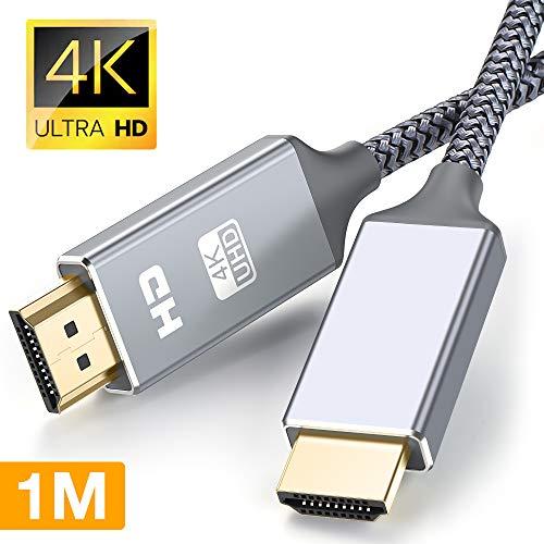 HDMI Kabel 4K 1m, Snowkids HDMI High Speed 2.0 Kabel 60Hz mit 18Gbit/s 4K HDR zukunftssicheres TV-Kabel unterstützt 2160p Video bei Ethernet ARC-fähig kurz,3D Xbox PS3, PS4-grau