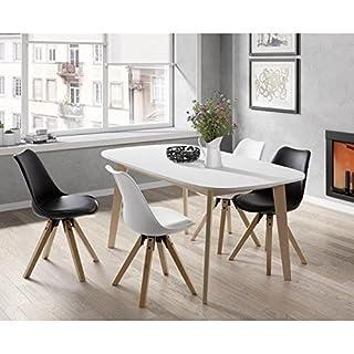 NAISS Table a manger extensible de 6 a 8 personnes scandinave pieds bouleau massif + plateau melamine blanc - L 160 a 200 x l 90 cm