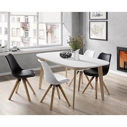 NAISS Table a manger extensible de 6 a 8 personnes scandinave pieds bouleau massif + plateau mélaminé blanc   L 160 a 200 x l 90