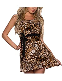 Sexy Belted Leopard Party Skater Dress- Animal Print