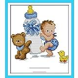 Anself - Mi Cariñoso Bebé, kit de Punto de Cruz Contado Bordado Hecho a Mano 14CT 26,5 x 22 cm