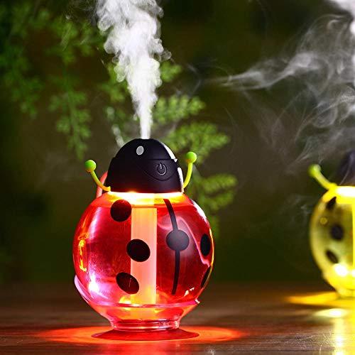 KJKL Humidificador Aromaterapiahumidificador De Coche De Dibujos Animados De Siete Estrellas Mariquita Coche Humidificador Creativo Escarabajo USB Oxígeno Giratorio con Luz De Noche 82 * 82 * 117 Mm
