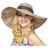 AiSi Damen Eleganter Sonnenhut mit Schleife, Sommer Strohhut, Faltbarer Strandhut, Strand Sommerhut, Damenhut mit Sonnenschutz breite Krempe Khaki