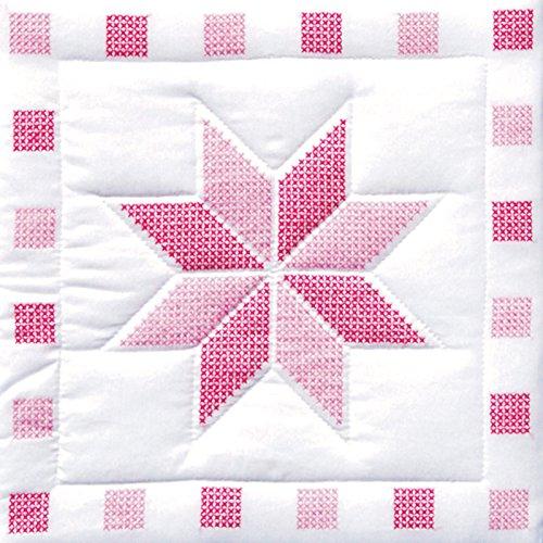 Jack Dempsey 263365 Gepr-gt Wei- Quilt Blocks 18 in. x 18 in. 6-Pkg-XXX Sterne