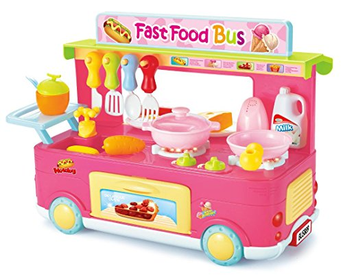 Ampersand Shops Food Truck Kitchen Toy Play Pink (29-Pcs.) for Kids 3 and up