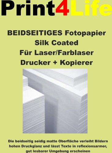 Preisvergleich Produktbild 125 Blatt DIN A4 BEIDSEITIGES seidenmatt gestrichenes weißes (Silk Coated) Fotopapier 200g /m² für Digitale Drucksysteme Farb- LASERDRUCKER und KOPIERER