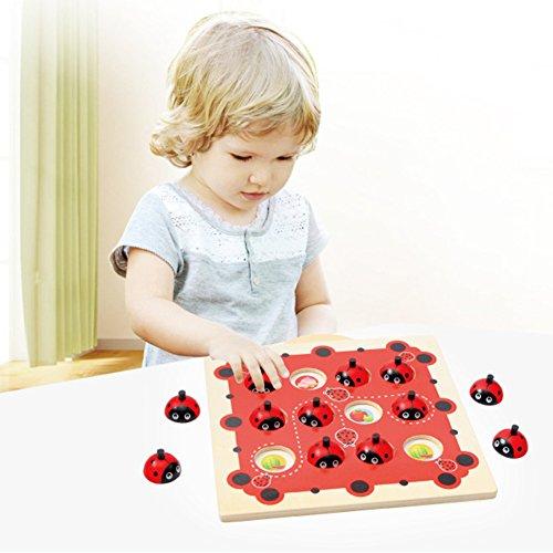 Kinder Holz Cartoon Marienkäfer Design Kinder Memory Training Spiel Schach Montessori Frühe Entwicklung Spielzeug für Kinder (Spielzeug Marienkäfer)