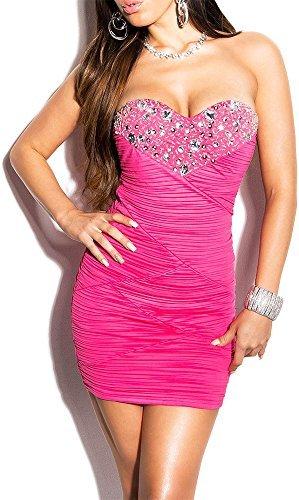 Elegantes KouCla Abendkleid gerafft und mit Steinbesatz (7 Farben - One Size 34-38) Sexy Dekolletè Minikleid Bandeaukleid Pink
