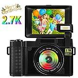 Kamera Digitalkamera Vlogging Kamera 24.0 MP 2.7K Ultra HD 3.0 Zoll Fotoapparat Digitalkamera mit Flip Screen Retractable Flashlight