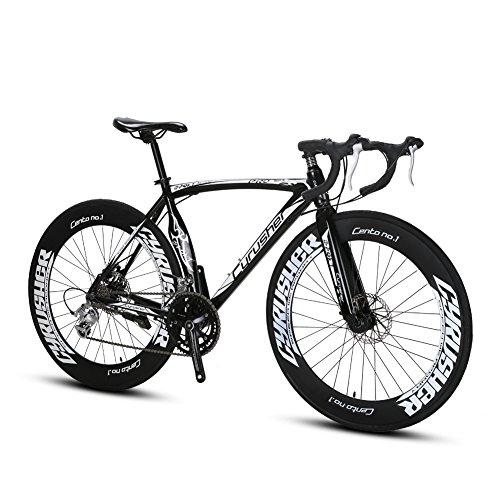 Vélo de Ville Extrbici XC700 56cm Vélo de Route 700C x 70mm avec 14 Vitesses -Cadre en Aluminium -Freins Mécanique –SHIMANO Dérailleur Cyrusher Christmas present