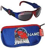 """2 tlg. Set _ Sonnenbrille & Brillenetui - """" ultimate Spider-Man """" - incl. Name - 4 bis 8 Jahre - 100 % UV Schutz - Kinderbrillenetui / extrem stabil - Etui für Brille oder andere Kleinigkeiten - für Kinder Jungen - mit Reißverschluß / Spiderman Spinne Amazing / Kinderbrille - kleine Tasche für Utensilien"""