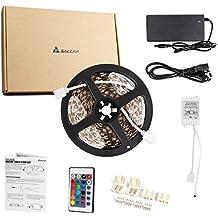Salcar 10 m RGB LED Strip con 600 ledes (SMD5050), 16 colores elegible, incluye IR de 24 teclas de mando a distancia, controlador y 12 V 120 W fuente de alimentación