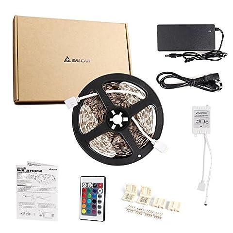 Salcar 10m RGB LED Strip mit 600 LEDs (SMD5050), mit 600 LEDs (SMD5050), 16 Farben auswählbar, inkl. 24 Tasten IR-Fernbedienung, Controller und 12V 120W Netzteil