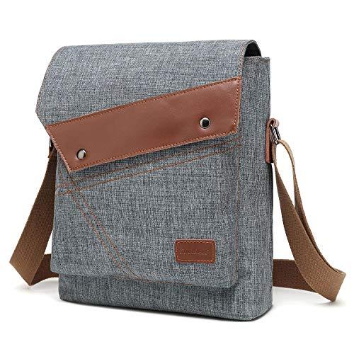 CoolBELL lässig Schultertasche Umhängetasche Mini Brusttasche Crossbody Beutel Satchel Daypack Student Messenger Bag Sling Rucksack passt 10,6 Zoll Tablet/iPad,Grau - Mini-satchel