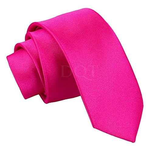 Corbata fina rosa fuerte, 142 cm de largo