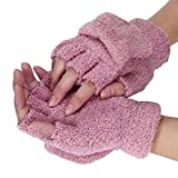 Bold N Elegant Fluffy Cute Fuzzy Soft Plush Mittens Short Fingerless Gloves Half Finger Winter Thermal Warm Gloves Winter Accessories Hand Wrist Warmer