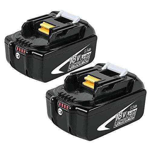 [2 Stück] Powayup BL1860B Lithium Ersatz für Makita Akku 18V 5.5Ah BL1860B BL1860 BL1850B BL1850 BL1840 BL1830 BL1820 194205-3 LXT-400 Werkzeugakkus mit Indikator -